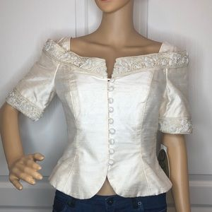 Watters And Watters Silk Beaded Top Size 4